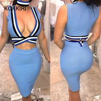 Wholesale Skirt Women Asymmetric - KOKKIRI 2 piece set 2017 Hot sale women crop top and skirt set Striped women's tracksuits tie up tank tops sexy pencil skirts