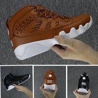 """Wholesale Leather Lace Gloves - Air Mens Retro 9 Mens Pinnacle Basketball Glove shoes Black brown number """"35"""" and """"45"""" High quality 9S Sports Sneaker Trainer size 41-47"""