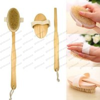 fin de douche achat en gros de-2017 Hot High-end New Arrival Natural Natural Long Bristle de bois Body Brush Massager Bath Shower Back Spa Scrubber GLO