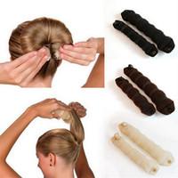 Wholesale sponge bun maker - 3 Pcs Set New Hot Foam Black Magic Korean Sponge Hair Hairdisk disk Quick Messy Styling Bun Headwear Maker Twist Curler Device Band