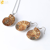 Wholesale Shell Pendant Necklace Earrings - CSJA New Special Holiday Birthday Gift for Women Natural Ammonite Conch Shell Fossils Jewelry Set Pendant Necklace Hook Dangle Earrings E392