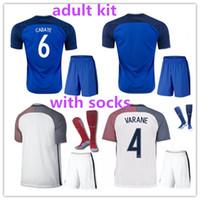 Wholesale France Football Kits - Best quality 2016 Euro France Home blue soccer Jersey Kits+socks 2016 2017 GRIEZMANN POGBA MARTIAL Giroud Away white Football shirts