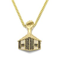 Men Egyptien Pyramid Porte pendentif Collier Hiphop Acier inoxydable Noir Blanc Pendentifs strass Pendentifs Bling Crystal Collier Or Collier