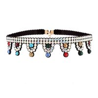 Wholesale Crown Tassel Necklace - hot sale Fashion necklace jewelry lady woman metal ribbon glittering crown tassel pendant rhinestone colorful crystal collar choker