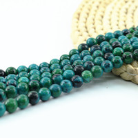 "Wholesale Azurite Chrysocolla Beads - Charm Round Turriform Azurite Chrysocolla Jasper Gemstone Chrysocolla Lapis Lazuli Beads 4 6 8 10mm 15"" in Length L0095#"