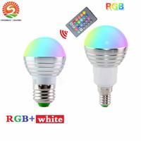 Wholesale e27 led blue spotlight - DHL Free Ship 5W RGB led bulbs light E27 E26 E14 led lights RGBW (rgb+white) led lamp ac 110-240v + 24keys ir remote control