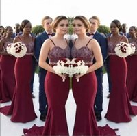 Wholesale Silk Wedding Dresses Cheap - Mermaid Burgundy Long Bridesmaid Dresses 2017 African Straps Lace Maid Of Honor Gowns Wedding Guest Dresses Cheap Custom Made