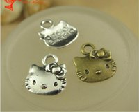 80f45add2 13*11MM Antique Bronze hello kitty charms for bracelet, vintage metal  silver plated pendants for necklace, tibetan jewelry making findings