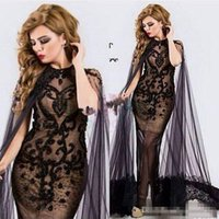 Wholesale Detailed Back Evening Gown - Black See Through Evening Formal Dresses with Cape 2017 Luxury Detail Lace Beaded Middle East Arabic Cocktail Party Prom gowns