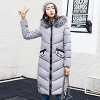 Wholesale Womens Long Fur Hat - 2017 Hot Sale Winter Womens Bio Down Removable Collar With Real Silver Fur Thickening Parka Women's Jacket With Pockets For Women Coat