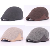Wholesale-Men Bonnets en hiver en laine tricotée Beret Peaked Golf Cabbie Newsboy Cap HAT139 HATCS0139