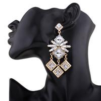 Wholesale Vintage Geometric Earrings - 2017 long Tassel big gem Dangle Earrings for Women Jewelry Ethnic Vintage Maxi Fashion Geometric Popular Boho Crystal Flower Drop Earrings