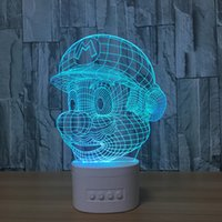 Wholesale Mario Wedding - 3D Mario LED Illusion Lamp Bluetooth Speaker with 5 RGB Lights TF Card Slot DC 5V USB Charging Wholesale Dropshipping