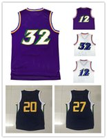 Wholesale Mens Black Sleeveless - Mens Stitched #32 Karl Malone jerseys John Stockton #12 jerseys 27# Rudy Gobert 27# Rudy Gobert Cheap embroidery jerseys Free shipping