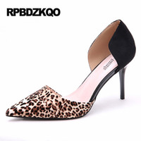 Wholesale Funky Heels - Leopard Print High Heels Sandals Size 4 34 D'orsay Pointed Toe Small 2017 Sexy Pumps Scarpin Black Shoes Women Funky Pull On