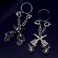 Wholesale Teeth Double Ring - 10 piece Punk Rock Sexy Love double gun Nipple Ring Shield Rings Body Piercing Jewelry Teeth Nipple Bar Women Gift