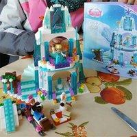 Wholesale Building Blocks Castle - for AIUNCI 316pcs Dream Princess Elsa's Ice Castle Building Blocks Princess Anna Olaf Set Gift Toys For Children