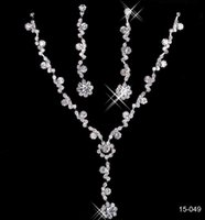 Wholesale Cheap Silver Heart Necklace - 2016 New Jewelry Necklace Earring Set Cheap Wedding Bridal Prom Cocktail Evening Dresses Rhinestone 15-042 In Stock Free Shipping
