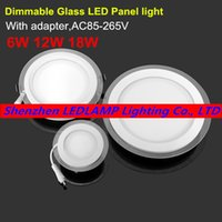 Atacado- Dimmable LED Painel de Luz Round Glass Painel Downlight 6W 12W 18W Teto Recessed Luzes SMD 5630 LED Paine Lâmpadas AC85-265V