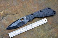 cuchillos de supervivencia al aire libre al por mayor-Strider Cuchillo táctico SMF plegable Y-START D2 acero de alta velocidad, lavado a la piedra TC4 cuchillo de supervivencia para exteriores con textura de llama