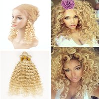 Wholesale Curly European Color 613 - 9A Bleach Blonde #613 Brazilian Virgin Hair Deep Curly 3 Bundles With Pre Plucked 360 Full Lace Band Frontal Closure With Adjustable Straps