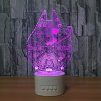 3D MILLENNIUM FALCON LED Illusion Lâmpada Bluetooth Speaker com 5 luzes RGB TF Card Slot DC 5V USB de carregamento Atacado Dropshipping