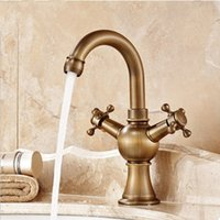 Wholesale Brass Bathroom Widespread Faucets - Bathroom Sink Taps Widespread antique brass faucet with Dual Handles One Hole Hot And Cold Ceramic Valve Deck Mounted Brass Finished Faucets