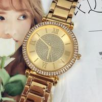 ingrosso orologio d'oro femminile-Nuovo modello Fashion lady di lusso orologi da polso da donna orologio d'oro in acciaio inossidabile nero braccialetto di marca orologio femminile spedizione gratuita