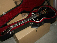 Wholesale Custom Guitar Cases - Custom Shop Electric Guitar Ebony Black with Gold Hardware + Case in stock Free Shipping