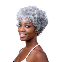 Wholesale Silver Curly Wig - 6inch Silver Grey Short Curly Wigs For Older Women Heat Resistant Synthetic African American Wig