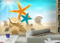 Custom 3d Wallpaper Murals Fashion Beach Beach Starfish Shells 3d  Stereoscopic Wallpaper Living Room Bathroom 3d Wall Murals Wallpaper