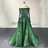 Wholesale nude boat neck - 2017 A Line Evening Dresses Over Nude Lining Vestidos De Festia Boat Neck Major Beaded Court Train Evening Gowns With Illusion Long Sleeves
