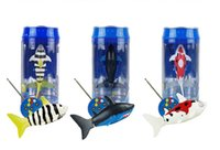 Atacado-Novo Coca-Cola Can Mini Rádio Controle Remoto RC Shark Fish Kids Electric Water Game Toy Amarelo Branco Red Sharks 48pcs / lot