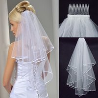 Wholesale Wholsale Sale - Free Shipping Wholsale Hot Sale 2014 In Stock Two Layers White Veils Tulle Ribbon Edge Comb Wedding Veil Bridal Accessory 2015