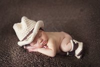Wholesale Babies Crochet Shoes Boys - New Arrival Newborn Baby Photo Props Floral Pattern Cotton Material Cowboy Hat+Shoes Baby Photo Accessories Unisex High Quality