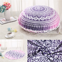 Wholesale Cushion Covers Round - 45x45cm Round Indian Mandala Floor Pillows Case Round Bohemian Cushions Pillow Case Cover not include the filler