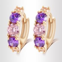 Wholesale Wholesale Cz Earings - Gold Plated Pendientes Earrings For Women Earings CZ ohrringe Crystal Hoop Earrings Brand Wedding Earrings brincos