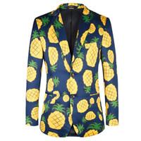 Wholesale Men S Blazer Leisure Fashion - Mens suits blazer high quality leisure fashion men jackets flower pineapple pattern blazers TOTURN brand 2017 Men coat