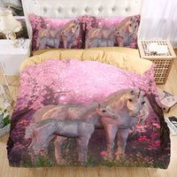Wholesale Beautiful Duvet Covers - Wholesale- Unicorn 3D Bedding Set Monocerus Print Duvet cover set Twin queen king Beautiful pattern Real effect lifelike bedclothes
