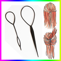 Wholesale Topsy Tool Hair Styles - Wholesale- Hot Sale Chic Magic Topsy Tail Hair Braid Ponytail Styling Maker Clip Tool Black 2pcs Drop Shipping