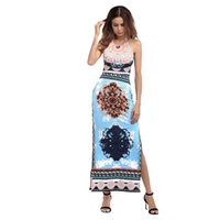 2017 sommer Sleeveless Long Beach Party Kleider Maxi Frauen Casual Afrikanischen Druck Dashiki Kleid Sexy Halter Backless Split