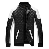 Wholesale Leather Jackets For Men 5xl - 2017 New Design Men's Jacket Winter&Autumn PU Leather Black&White Fashion Slim Plaid Jacket For Man Drop Shipping MWJ883