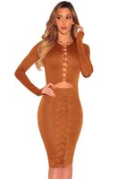 Wholesale Fashion Night Club Party Autumn Midi Dress Black Brown Lace up Cut out Long Sleeves Bodycon Dress vestido feminino LC61382