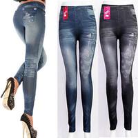 Wholesale High Waist Vintage Jeans Wholesale - Wholesale- 2016 New Fashion Jeans Women Pencil Pants High Waist Fake Jeans Sexy Slim Elastic Skinny Pants Trousers Fit Lady Jeans One Size