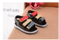 Wholesale Spring Child S Buckle - Summer new boys and girls sandals magic stickers beach shoes lights LED anti - skid children 's shoesfree delivery2017 new