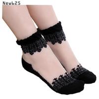 Wholesale Lace Trim Ankle Socks - 3pic lot Women Lace Ruffle Ankle Sock Soft Comfy Sheer Silk Cotton Elastic Mesh Knit Frill Trim Transparent Ankle Socks hot