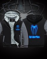 Wholesale Spiderman Thick Hooded - Hot sale New Winter Jackets and Coats SpiderMan hoodie Anime Luminous spider-man Hooded Thick Zipper Men cardigan Sweatshirts