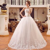 Wholesale Spring Bow Rhinestone - 2017 Brand New White Sexy Strapless Lace-Up A-Line Wedding Dresses With Rhinestones Slim Backless Bow Women Lace Dresses Free Shipping