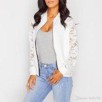 Wholesale Sale Lace Cardigan - 2016 New Design Hot Sale Lovely Womens Winter Jackets Women Bomber Jacket Coat Paneled with Lace Sleeve