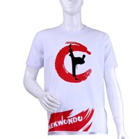 Wholesale Wholesale Adult T Shirts - taekwondo T-shirt adult and Kids male female 100% Cotton taekwondo T-shirt Short sleeves Spring and summer fashion